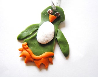 Rustic Handmade Polymer Clay Olive Green Penguin Ornament
