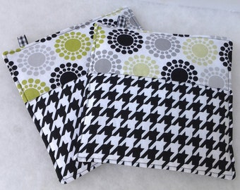 Modern Potholders in Houndstooth in Black and White with Circle Dot Motif, Fabric Potholders, Fabric Hot Pads
