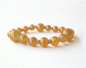 Topaz bracelet handmade with bright topaz glass beads. ooak made in Italy