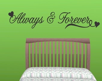 Always Forever  Wall Decal Quote Vinyl Art Sticker Wall Lettering Bedroom New Sticker New Lettering Wall Wall quotes decals lettering (139)