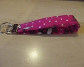 keychain fob wristlet, PINK with white polkadots and monkeys. Great Stocking Stuffer or Christmas Present. Free Shipping.