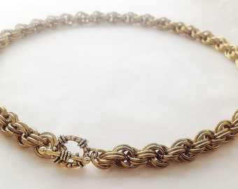 Chainmaille necklace jeweler's brass double twist