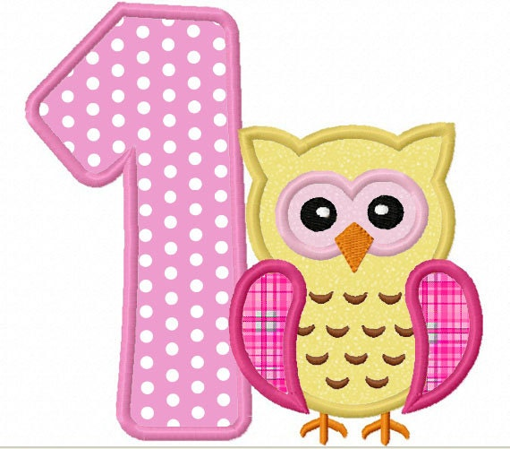 10: Instant Download Owl Birthday Numbers Font Applique Machine