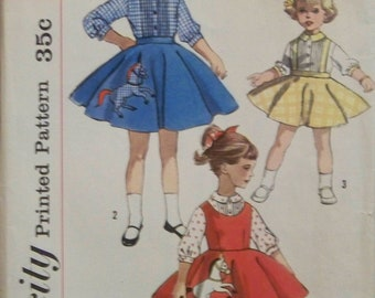Antique 1950's Simplicity 2287 Pattern for Girls' Blouse, Jumper, and Skirt with Transfer Included in Size 3