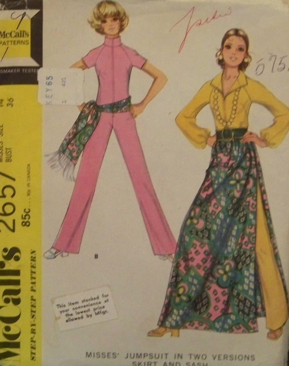 Vintage 1970 McCall's 2657 Pattern for a Misses' Jumpsuit in Two Versions, Skirt, and Sash in Size 14