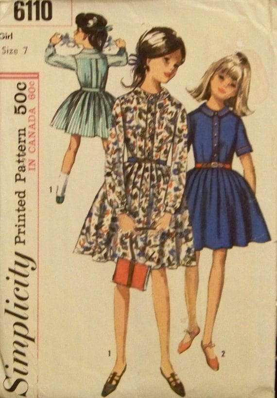 Vintage 1965 Simplicity Pattern 6110 for Girl's One-Piece Dress in Size 7