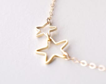 Open tiny star necklace- delicate gold filled chain- modern minimalist jewelry for everyday by noa noa