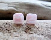 NEBULA Sterling Silver Earring Studs Pale Pink Recycled Glass Tiles Eco-Friendly