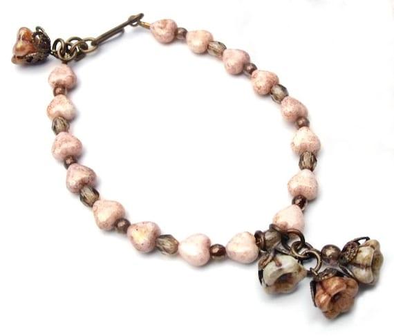 Hearts & Flowers Antiqued Brass Bracelet