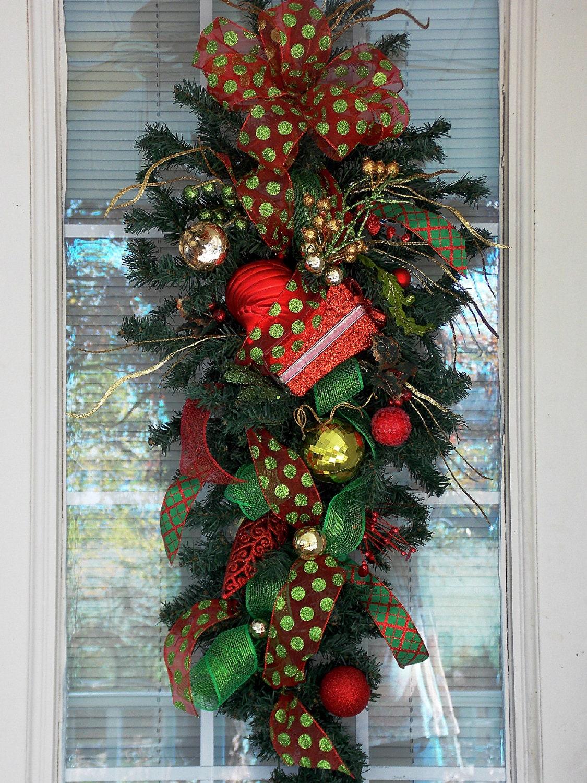 Christmas Swag With Deco Mesh Ribbon Christmas Present