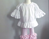 Girls Peasant Top White Cotton Ruffle on bottom and sleeves size 18 months to 8