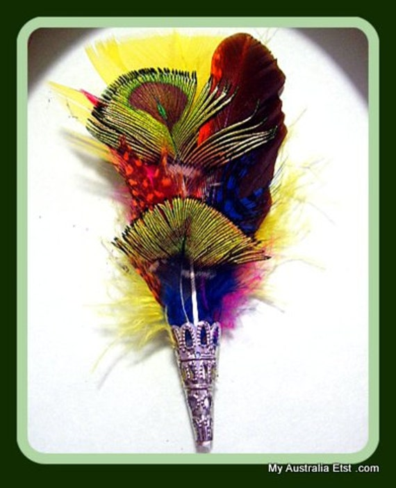 Hat Pins Brooch Hair attire Fascinator in Pink, Green And Gold, Blue Feathers Stick Pin Handmade Silver fillagree Men Women Unisex