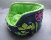 Luxury guinea pig bed with funky vegetable design and super soft lime green fleece