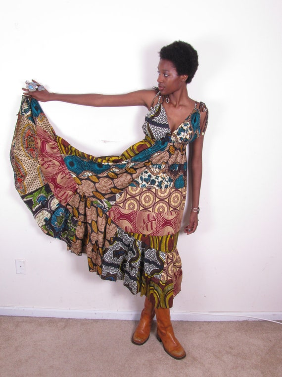Beautiful Ethnic Gypsy Hippie Patchwork Print Full Circle Maxi Full Length Wide Dress one size