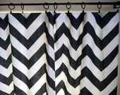 Modern Drapes, Curtains, Pair 50x84 Black and White  Large Chevron ZigZag Print, Custom Window Curtain Panels, Color Options