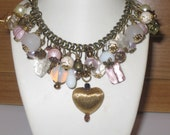 Vintage Blush   Unique Vintage inspired beaded charm necklace by hayley j jewellery