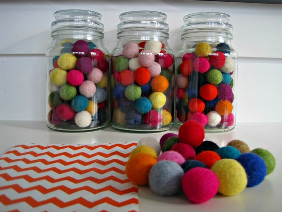 Felt Balls x 20 Multicolored 20mm size