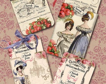 Jane Austen Inspired Envelopes and Gift Tags- Digital Download