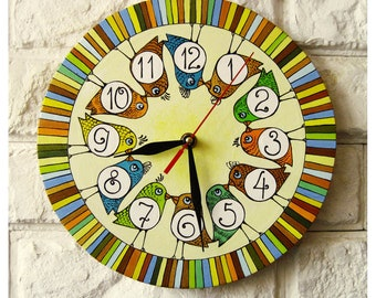 The Coloured Birds, Modern wall clock with numbers, White wall clock, wood clock, white home decor, kids gift, wedding gift, Office