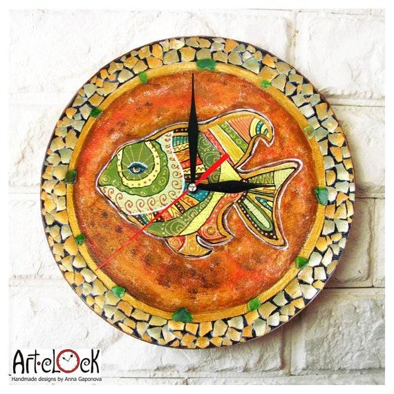 The Fish Wall Clock, Home Decor, wall clocks handmade