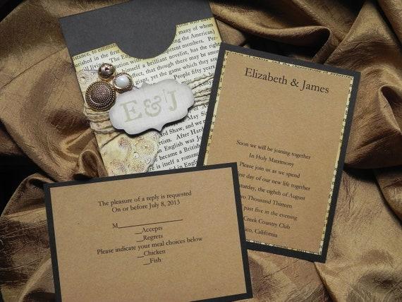 Weathered Elegance Rustic Victorian Style Pocket Wedding Invitation Suite