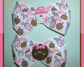 BFF Grosgrain Milk and Cookies Ribbon Hair Clips Clippies Piggies Pig Tails, With Matching Milk and Cookie Clay Centers