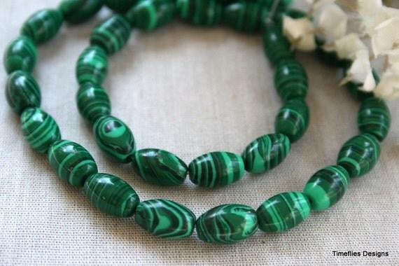 8mm x 12mm Green Malachite Drum Beads