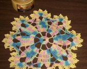 Crocheted Doily Flower Petal Design in Varigated Thread with Yellow Trim 9 inch Diameter