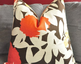 Orange Floral Pillow Cover, Decorative Pillow, Throw Pillow, Duralee, Thomas Paul, Yellow, Orange, Brown, Home warming Gift