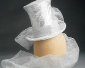 """6"""" Tall Wedding Madhatter Fascinator Top Hat with Trailing Lace"""