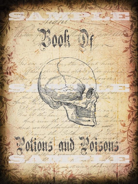 Halloween Book Cover Printable : Items similar to halloween book cover of spells potion and