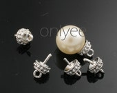 24 Pcs - 5mmX6mm Rhodium Plated over Brass Bead cap with Deco Peg(K273S)