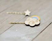 Wood bobby pin, set of 2 pieces - rainbow and star