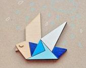 Wood Laser cut Brooch Blue Origami Bird