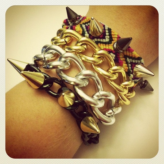 Chunky chain wrap bracelet with mixed metal