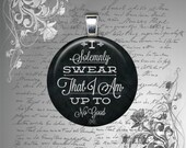 GLASS pendant necklace quote Harry Potter I Solemnly Swear I Am Up To No Good black white round 25mm holiday christmas birthday gift