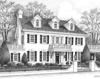Reserved Listing for Melissa Custom  Portrait Commercial Building 12x17 Graphite Pencil Original Your My Home Sketch Drawing  Closing Gifts