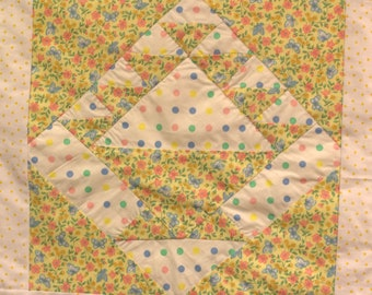 Calico Yellow May Basket Quilt Wall Hanging