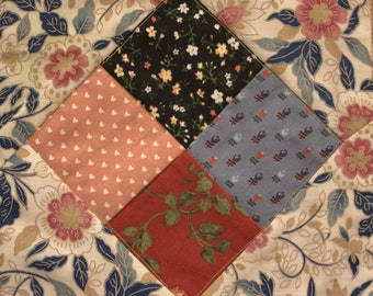 Calico Four Patch Quilt Wall Hanging