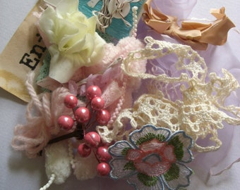 SALE Vintage romantic nature millinery flowers and goodies crafting pack