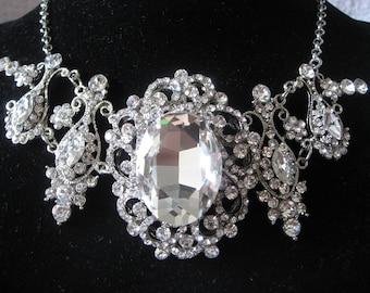 Glamours bridal oval victorian rhinestones crystals wedding bridal necklace