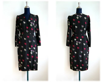Sale 50% OFF from 59 US to 29.5 US - 60's Mod Retro Graphic Print Black Dress // Size M