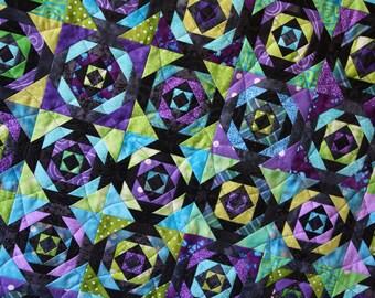 Pineapple Art Quilt ; Hand Dyed Quilt ; Batik Fabrics ; Textile Art ; Wall Hanging ; Black Quilt ; Quilt Art ; Textile Art ; Purple Quilt