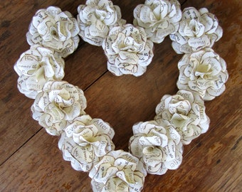 """Rustic Wedding or Vintage Personalized Paper Rose Decorations - Paper Flowers  2 1/2"""" Diameter  WITHOUT Stems Set of 12"""