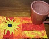 Applique Quilted Mug Rug PDF E-Pattern - Black Eyed Susan
