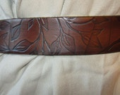 1 1/4 Inch Handmade Leather Belt, Leaf Pattern, USA Made