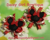 Mini Layered Hair Bows -Girls Autumn Hair Bows - Summer Minnie Mouse Bows - Minnie Mouse Boutique Hair Bows For Girls