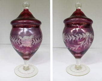 Vintage Cranberry Glass Compote Dish w/ White Etched Flowers