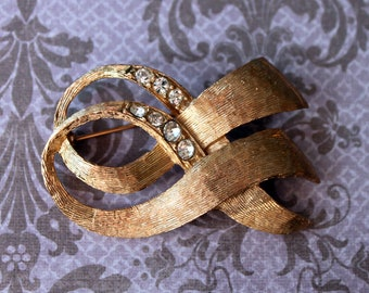 Textured Gold and Rhinestone Double Ribbon Brooch