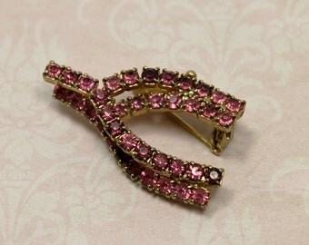 Pink Rhinestone Vintage Wishbone Brooch
